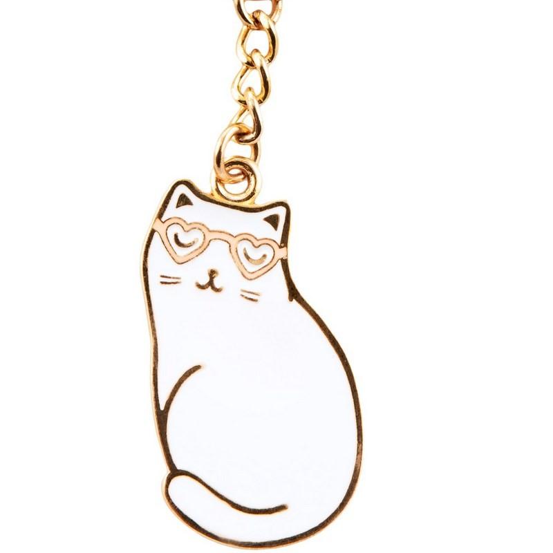 Porte clés chat à lunettes