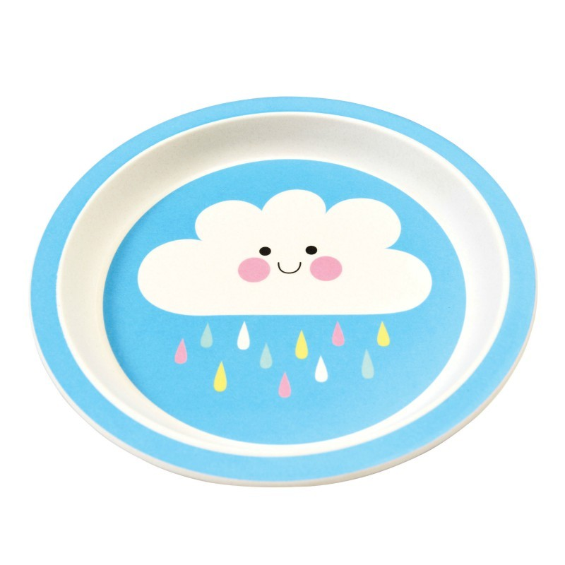 Assiette en bambou happy cloud