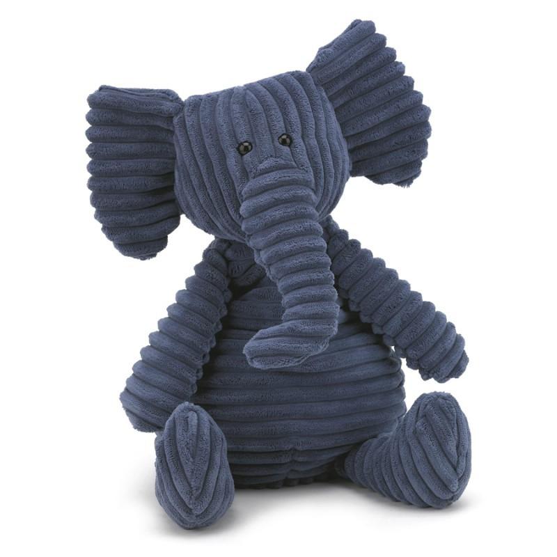 Peluche côtelée éléphant bleu