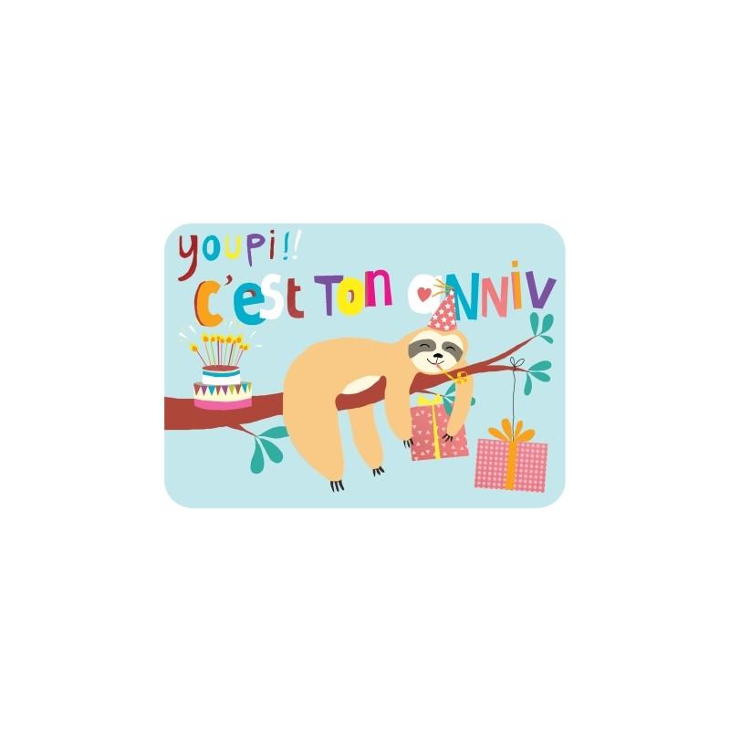 Carte anniversaire paresseux