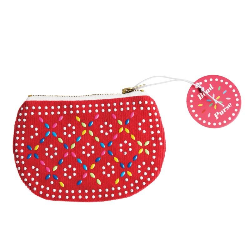 Porte-Monnaie rouge à perles
