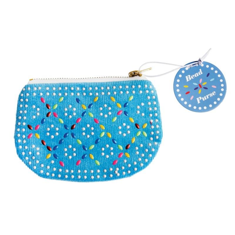Porte-Monnaie bleu à perles