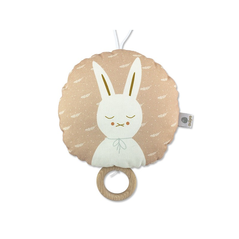 Coussin musical lapin blanc
