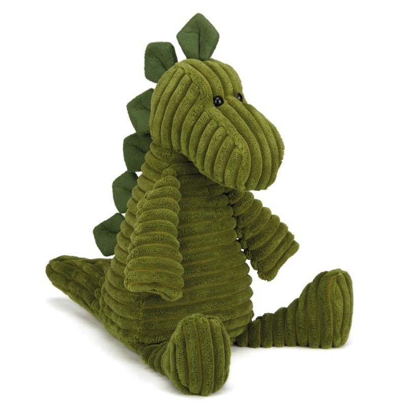 Peluche côtelée Dino vert