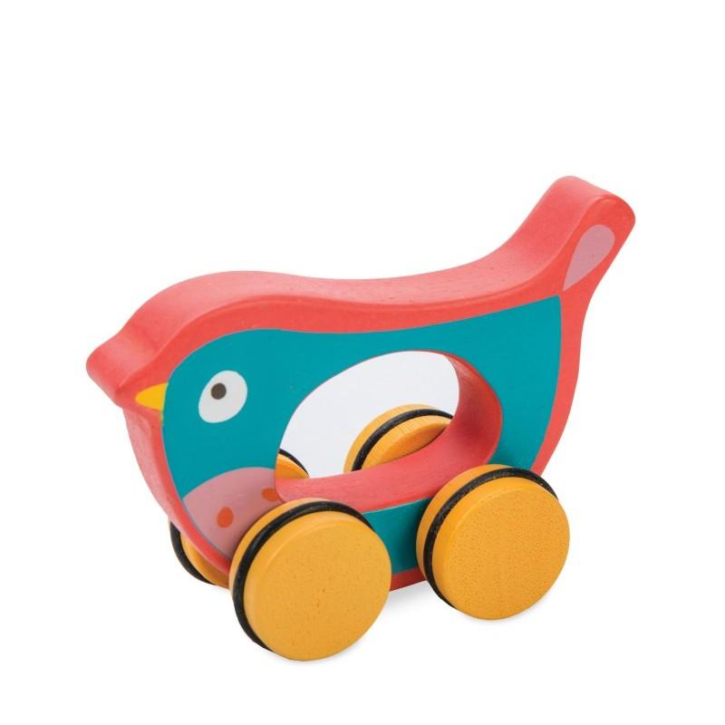 Léo l'oiseau jouet à roulettes