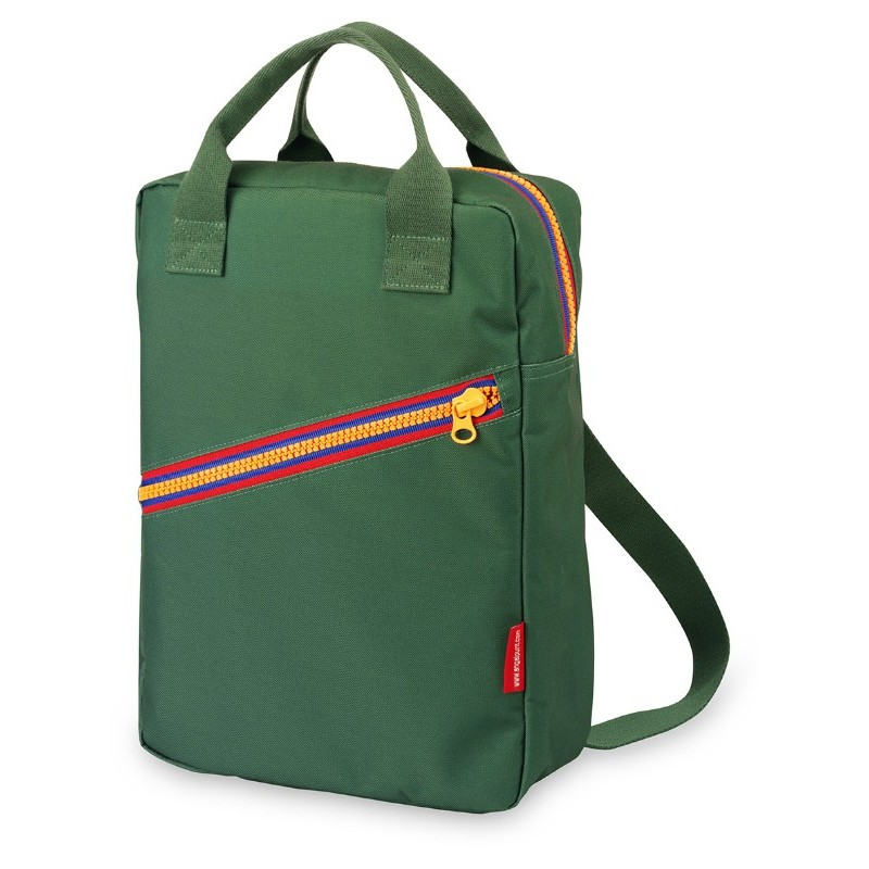 Grand sac à dos zippé vert