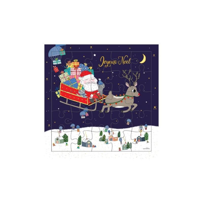 Carte puzzle Joyeux Noël...