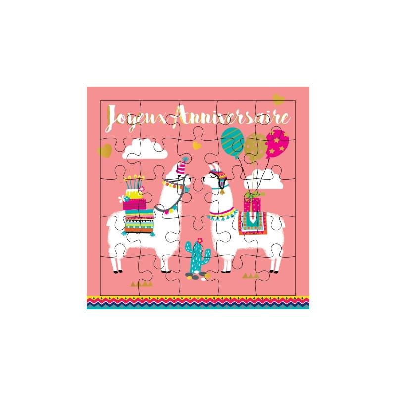 Carte puzzle anniversaire Lama