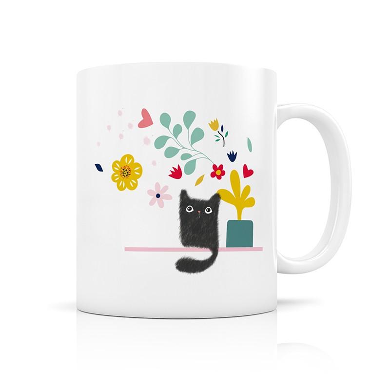 Mug Chat et fleurs