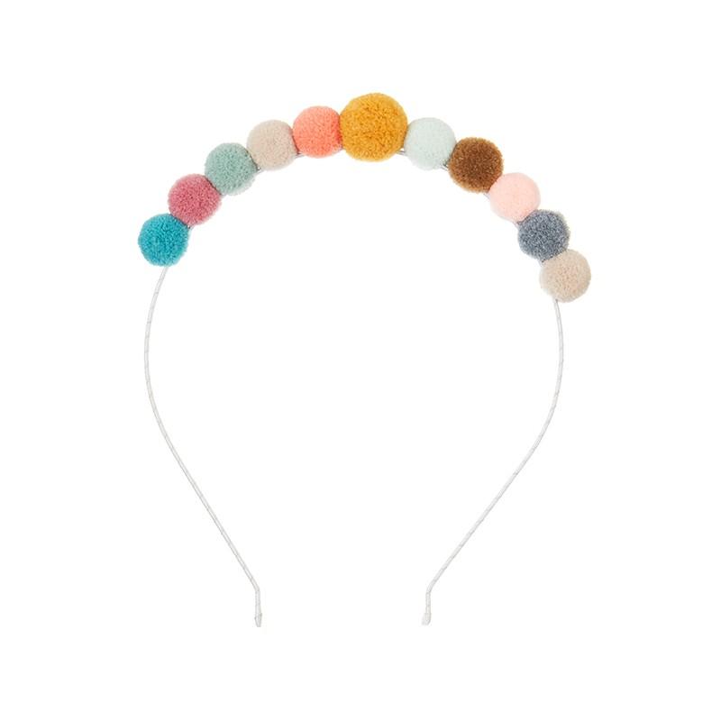 Serre tête pompons multicolore