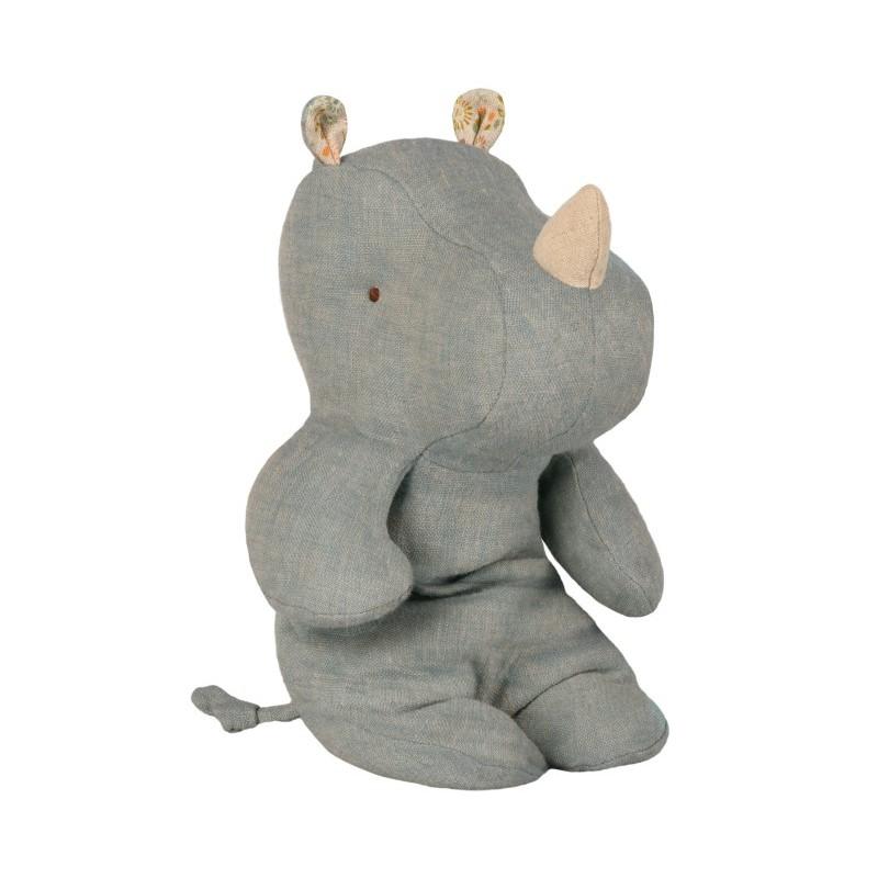 Petit doudou Rhino bleu gris