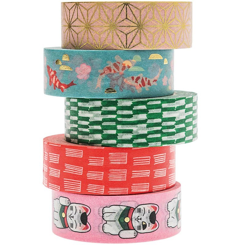 Lot de 5 Washi paper Jardin...