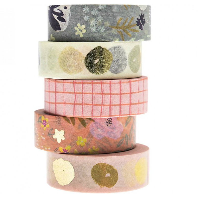 Lot de 5 Washi paper Nature