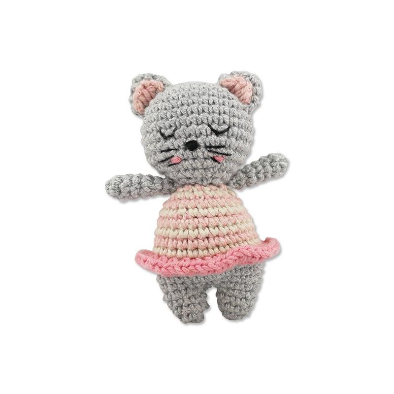 Hochet Chat gris en crochet