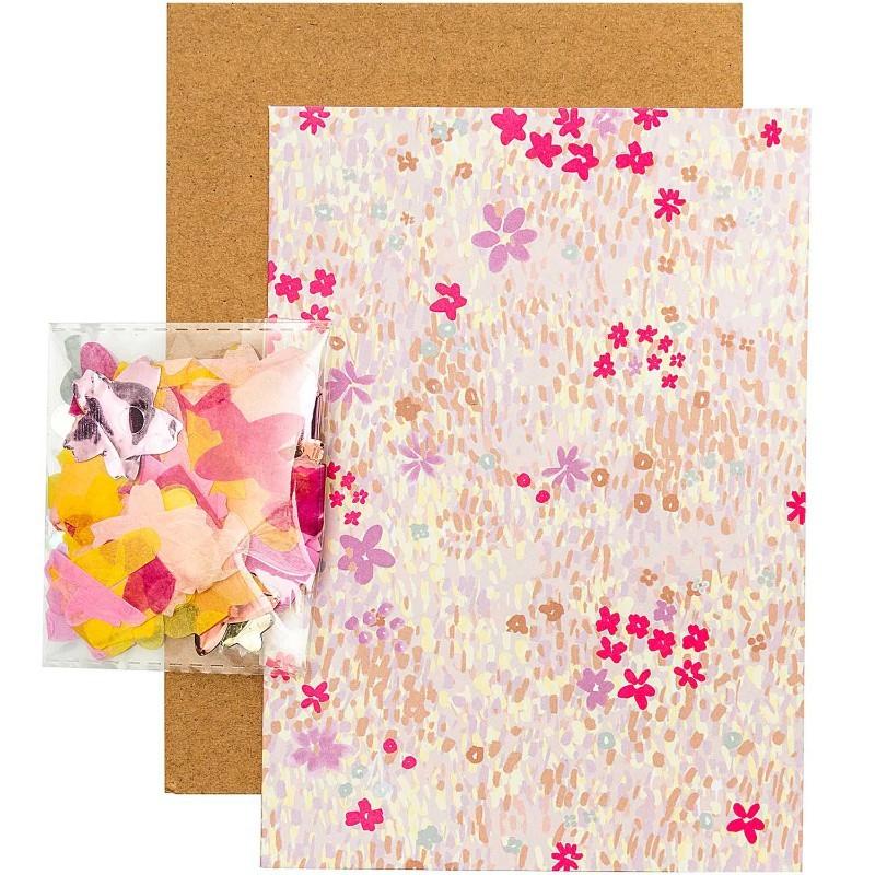 Carte diy Fleurie rose fluo