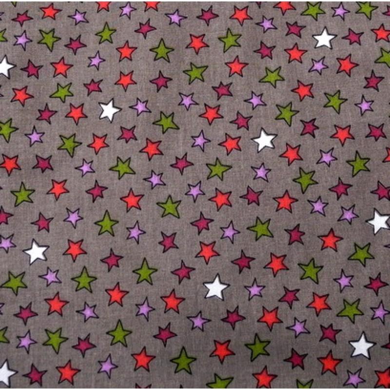 Tissu Etoiles multi prune