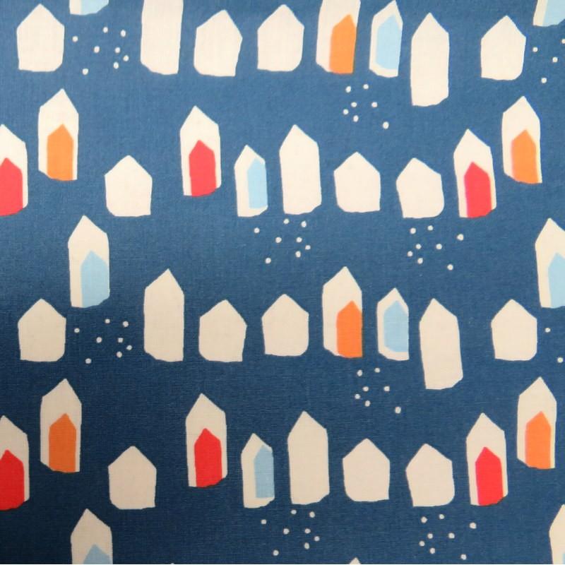Tissu Maisons bleues