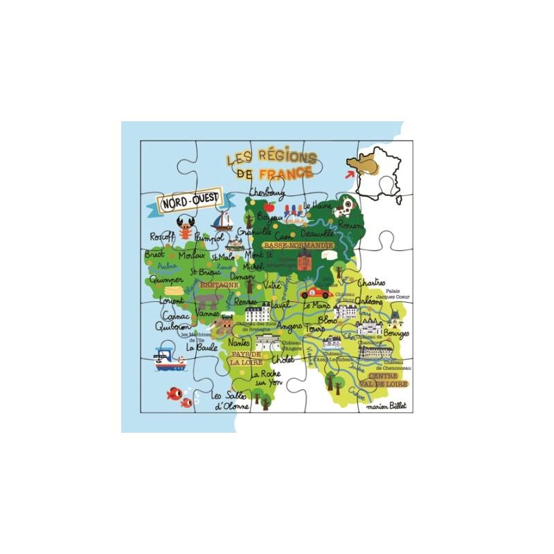 Carte puzzle région Ouest