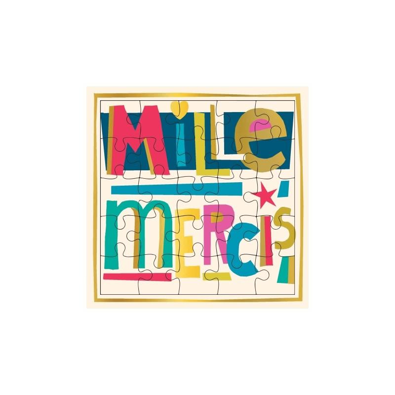 Carte puzzle Mille mercis