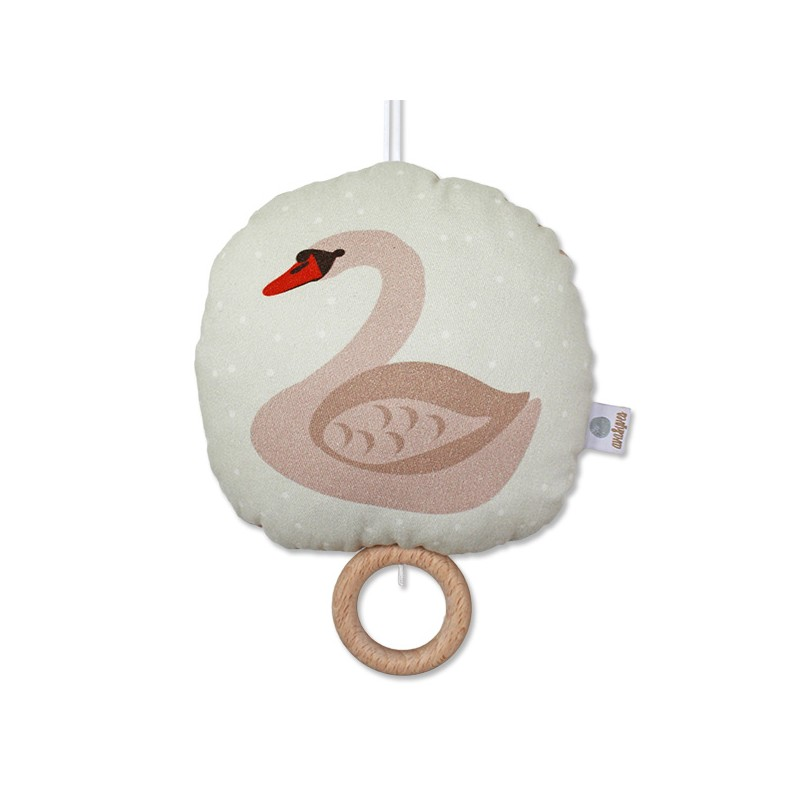 Coussin musical Cygne rose