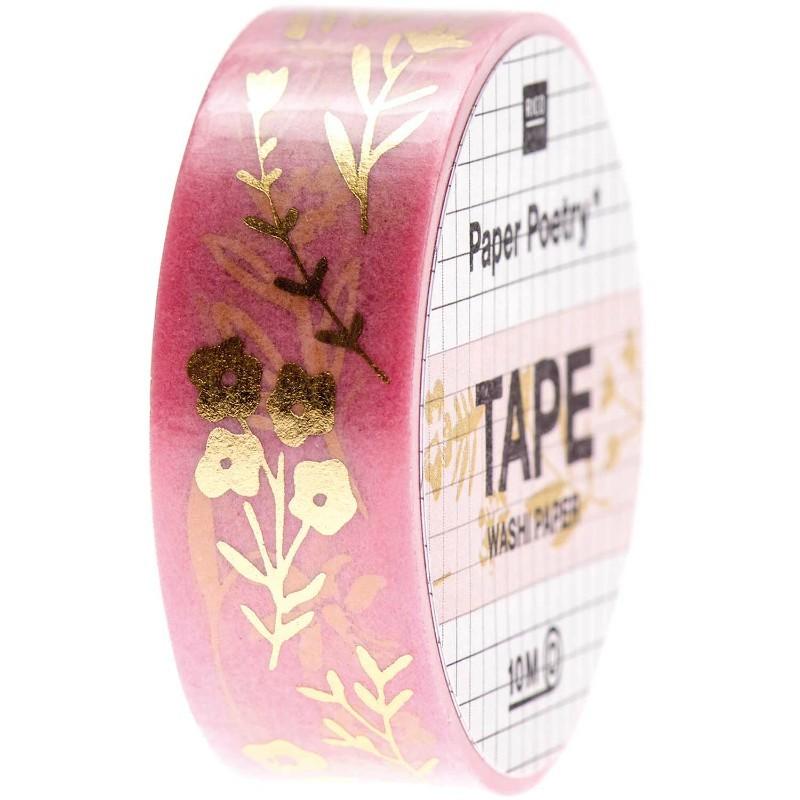 Washi paper Fleurs or et...