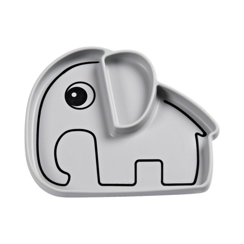 Assiette Elephant gris en...
