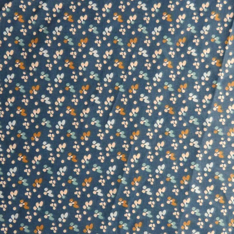 Tissu Fleurs sur bleu foncé