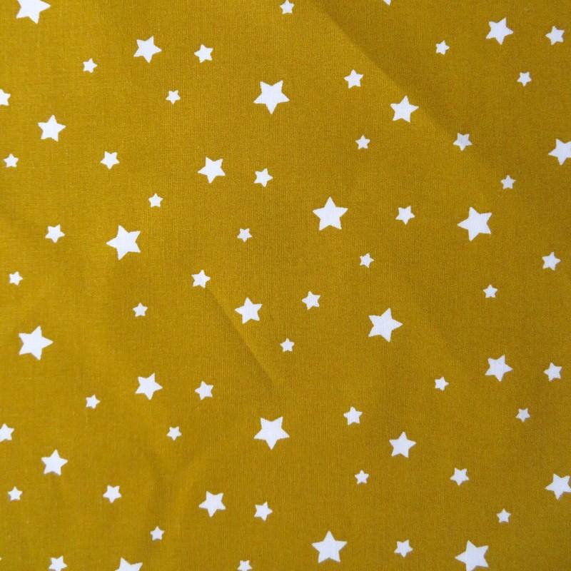 Tissu Etoiles multi moutarde