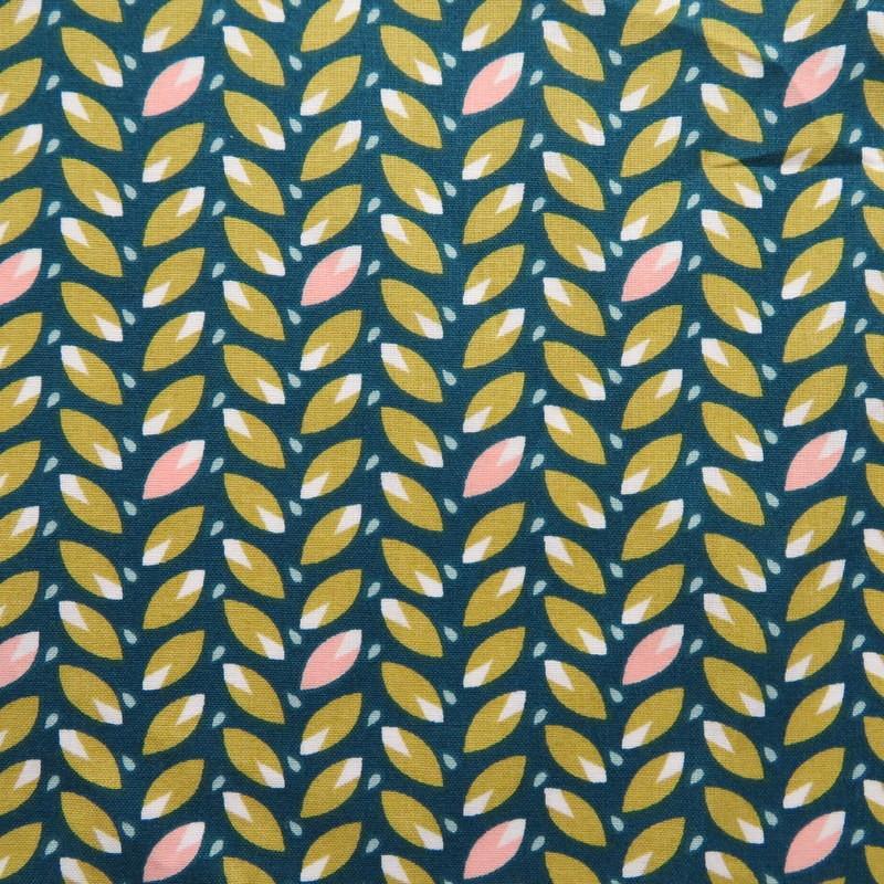 Tissu Feuilles sur fond vert