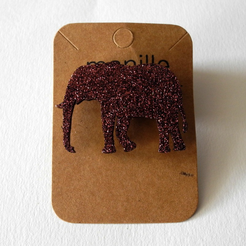 Broche pailletée Elephant -...