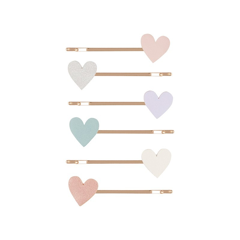 6 barrettes Coeurs pastels
