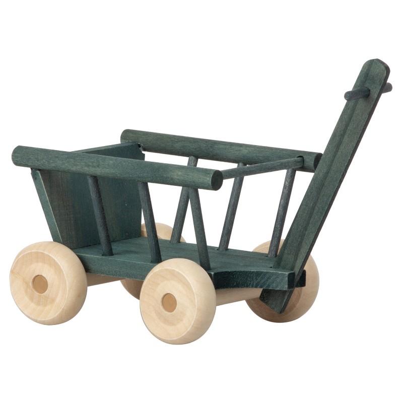 Chariot en bois bleu pétrole