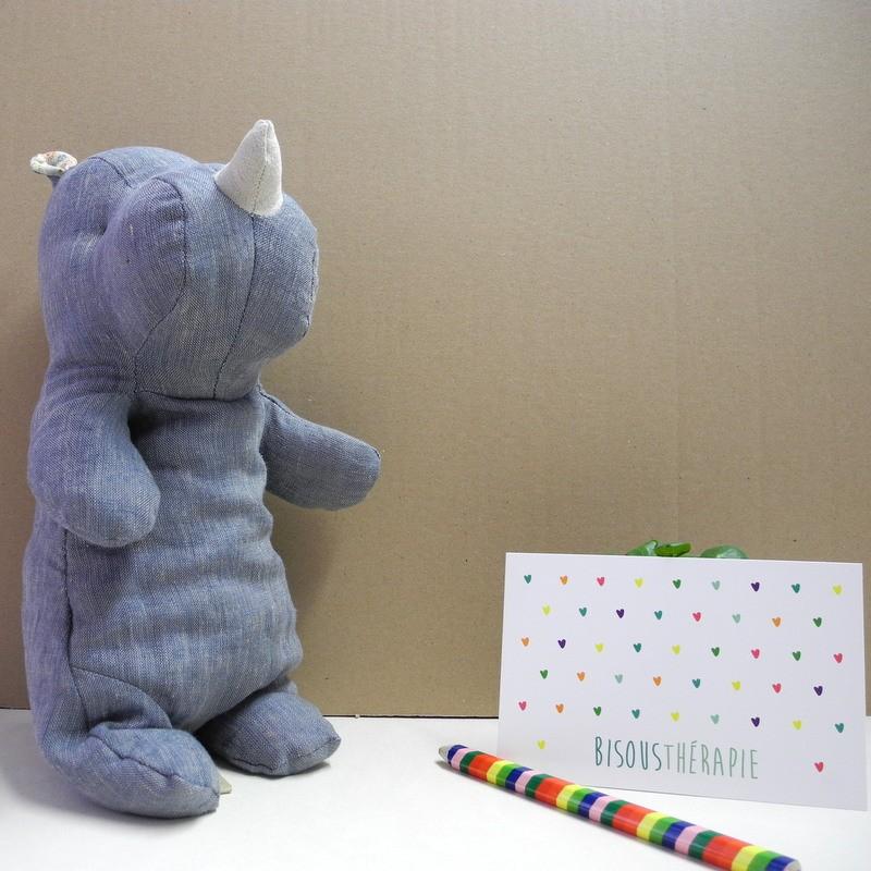 Doudou Rhino Bleu médium
