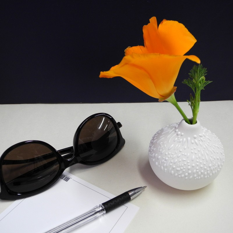 Petit vase rond blanc à...