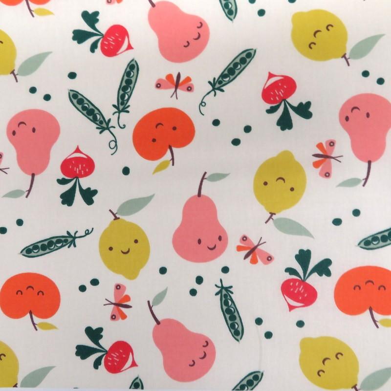 Tissu coton enduit Légumes