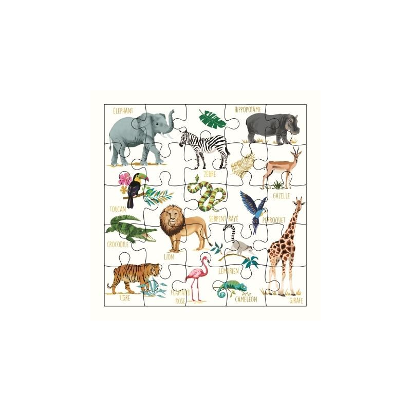 Carte puzzle Imagier savane