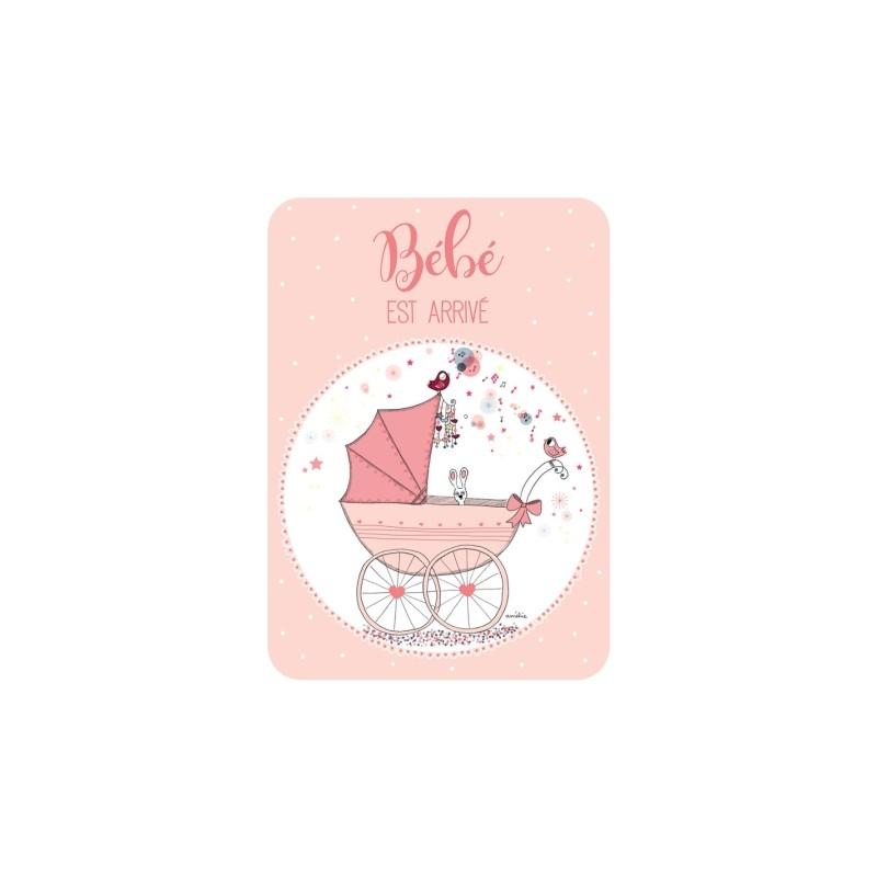 Carte simple berceau rose...