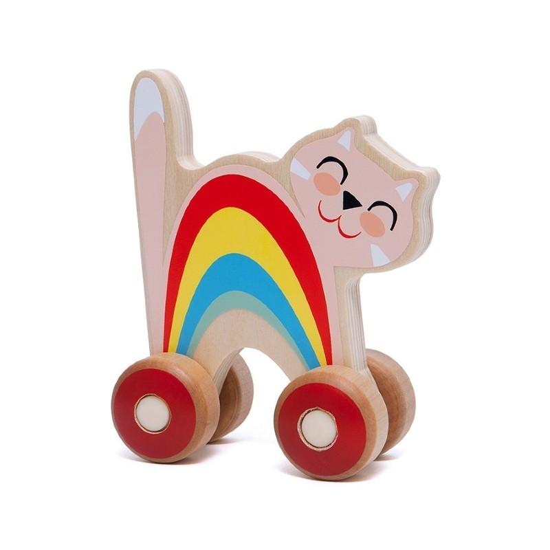 Chat à roulettes en bois