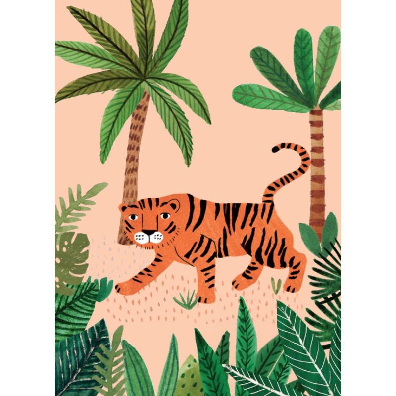 Carte simple Tigre rose