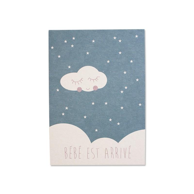 Carte simple bleue Bébé est...