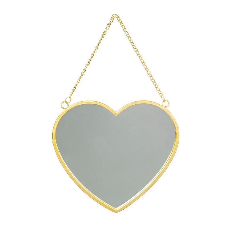 Miroir Coeur en métal doré