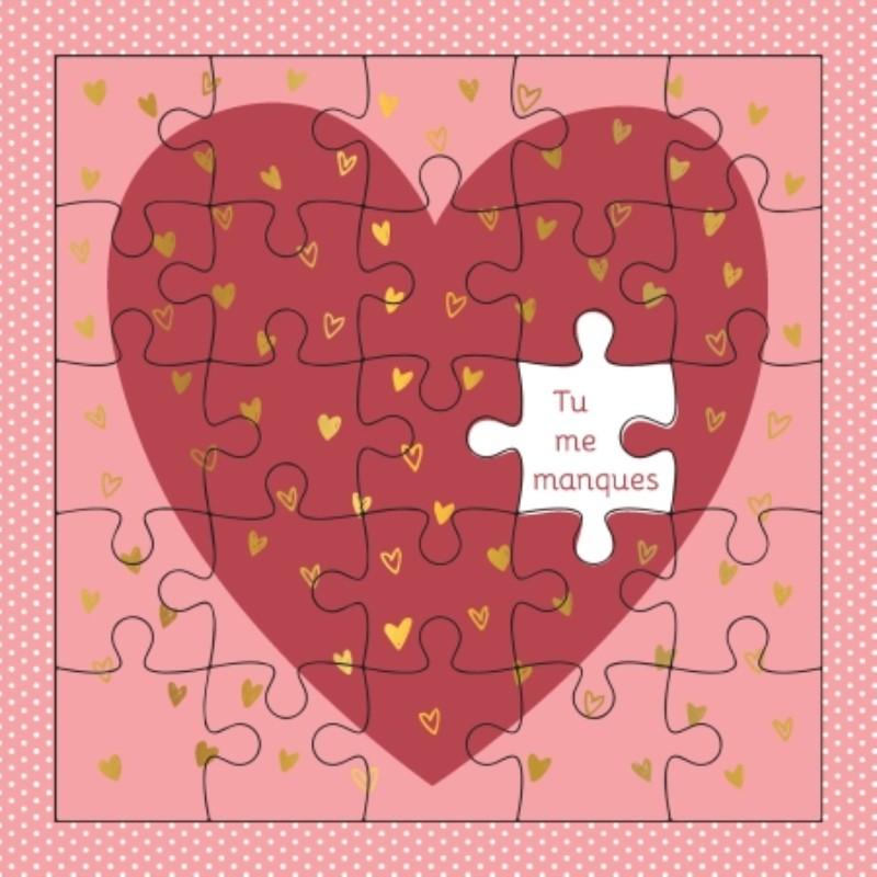 Carte puzzle Coeur