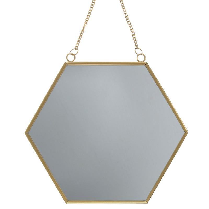 Miroir hexagonal en laiton